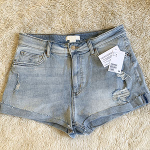 NWT H&M Lt. Blue Distressed Denim Cut Offs